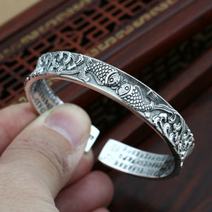 Real Solid 999 Pure Silver Cuff Bracelet Fish Lotus Spindrift Jewelry