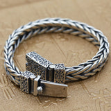 "Men's 925 Sterling Silver Bracelet Link Chain Braided Jewelry 7.5"" - 8.3"""
