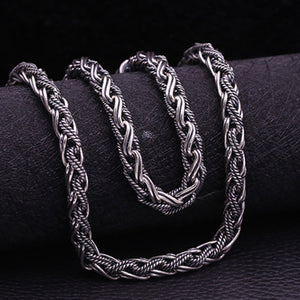 "Huge Heavy Real 925 Sterling Thai Silver Braided Rope Chain Men Necklace 20""-26"""