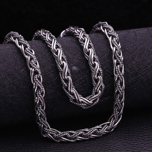 Huge Heavy Real 925 Sterling Thai Silver Braided Rope Chain Men Necklace 20