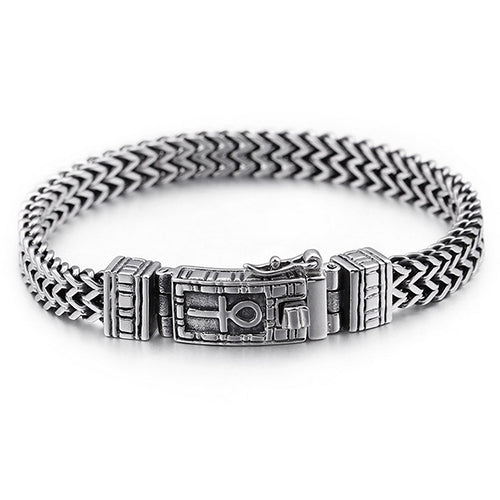 Men 316L Stainless Steel Bracelet Link Punk Doulbe Braided 6.3