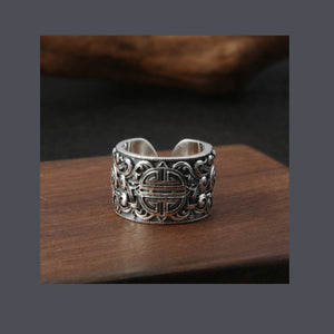 Real 925 Sterling Silver Ring Mongolia Longevity Pattern Open Size 8 9 10 11