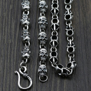 "Genuine Solid 925 Sterling Thai Silver Skull Chain Polish Men's Necklace18""-32"""