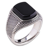 Real 925 Sterling Silver Ring Black Agate Open Size 8 9 10 11