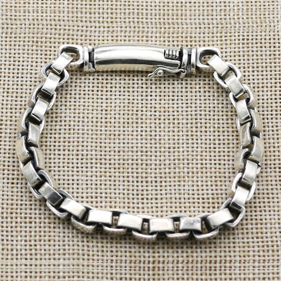 Real 925 Sterling Silver Bracelet Link Rectangular Box Chain