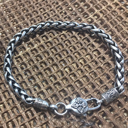 Real 925 Sterling Silver Bracelet Bangle Link om mani padme hum Braided Vajry