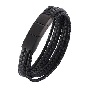 "Men 316L Stainless Steel Bracelet Link Arm Ring Braided Leather 6.5""- 8.9"""