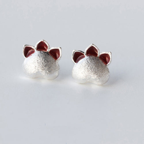 Genuine 925 Sterling Silver Ear Stud Earrings Women's Cute Cat's Paw Jewelry