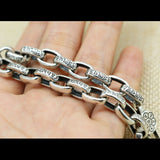 "Real 925 Sterling Silver Bracelet Link Vajra Lection Oval Chain Size 5.51""-9.45"""