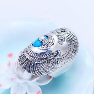 Real 925 Sterling Silver Ring eagle wings Turquoise Men's Size 8 9 10 11
