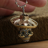Heavy Solid 925 Sterling Thai Silver Pendant Skull Strawhat Brass Men's Women's
