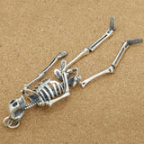 Real 925 Sterling Silver Pendant Skeleton Skull