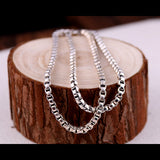 Real Solid 925 Sterling Silver Necklace Box Chain Men's 22""