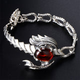 Real 925 Sterling Silver Bracelet Bangle Link Scorpion Garnet Inlay Jewelry