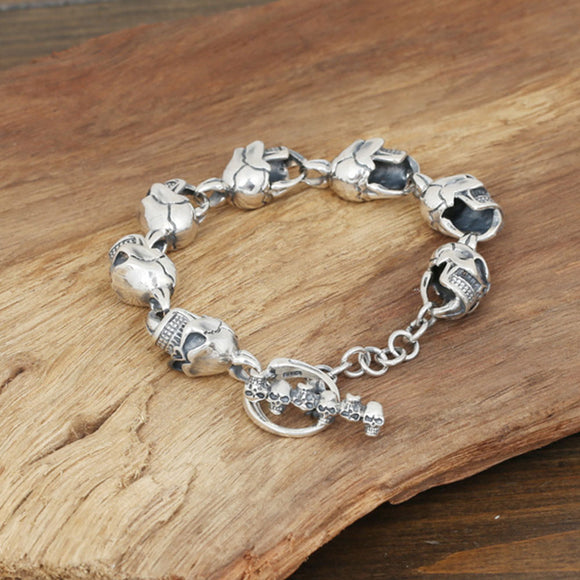 Men's Solid 925 Sterling Silver Bracelet Link Skulls Chain Jewelry 9.1