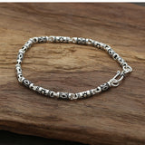 Real 925 Sterling Silver Bracelet Link Tube Carvings Lightning Sun Chain