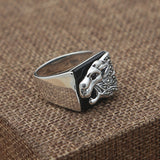 Real 925 Sterling Silver Ring Black Agate Lion Size 8 9 10 11