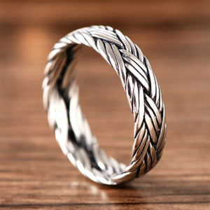 Men's Women's Solid 925 Sterling Thai Silver Ring Braided Size 6 7 8 9 10 11