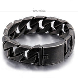 Huge Heavy Punk Men 316L Stainless Steel Bracelet Link Braided Black 8.7''