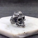 New Real 925 Sterling Silver Ring Men's Skull Adjustable Size 8 9 10 11