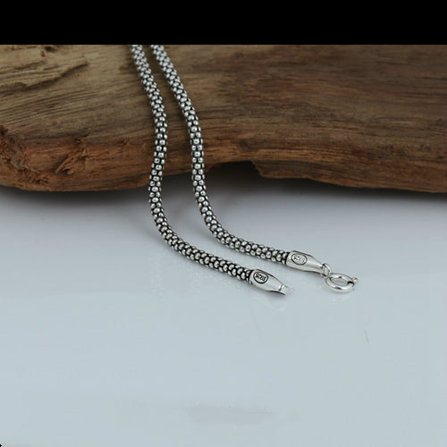 Real Solid 925 Sterling Silver Necklace Chain Corn Men's 18
