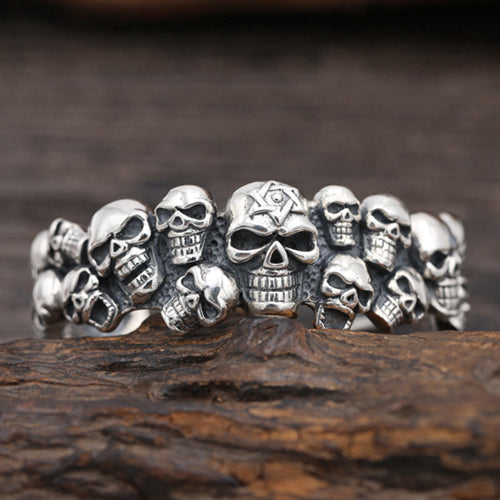 Huge Real Solid 925 Sterling Silver Cuff Bracelet Skulls Wide Men's