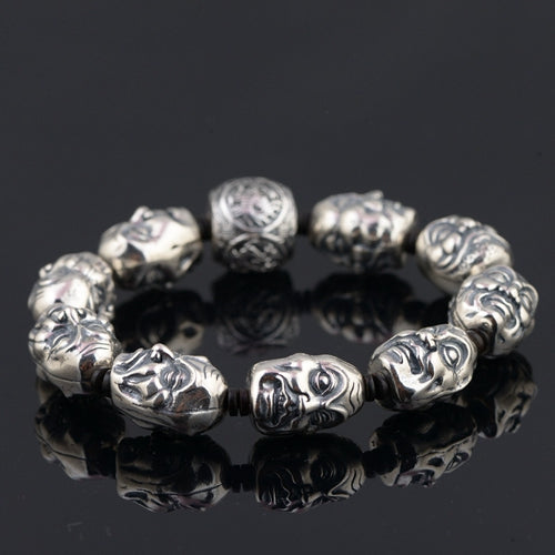 Real 925 Sterling Silver Bracelet  Link  Eighteen Arhats Four Buddhism Beast