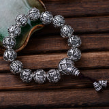 Real 925 Sterling Silver Bracelet Link Chain Bead Lection Om-Mani-Padme-Hum