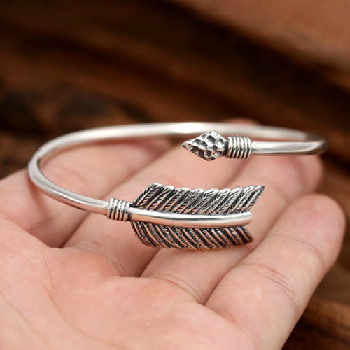Real Solid 925 Sterling Silver Cuff Bracelet Arrow Men Women Jewelry