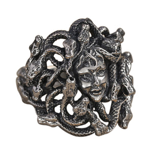 Men's 925 Sterling Solid Thai Silver Ring Snakes Medusa Myth Size 8 9 10 11