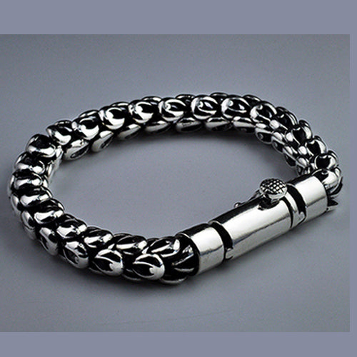 Real 925 Sterling Silver Bracelet Link Chain Dragon Scale Thick Mens 7.5