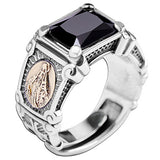 Real 925 Sterling Silver Ring Virgin Mary Black Agate Open Size 8 9 10 11