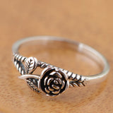 Women's Real 925 Sterling Silver Ring Rose Jewelry Size 6 7 8