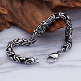 Men 316L Stainless Steel Bracelet Link Skull Braided Fashion 8.7""