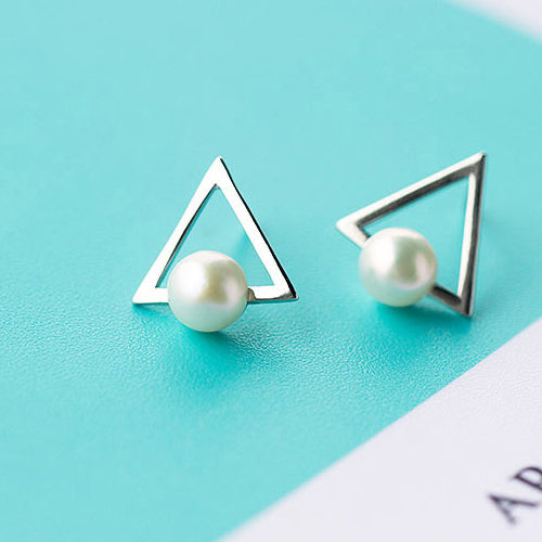 Genuine 925 Sterling Silver Ear Stud Earrings Triangle Freshwater Pearl Women's