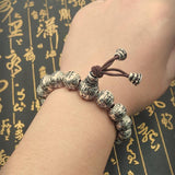 Men's Women's Real Solid 990 Sterling Silver Bracelet Beads Religion Fashion