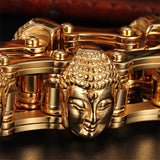 Punk Men 316L Stainless Steel Bracelet Link Biker  Buddha Head Gold Plated 8.9""