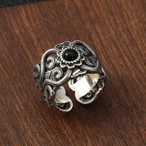 Real 925 Sterling Silver Ring Mongolian Auspicious pattern Agate Size 9 10 11