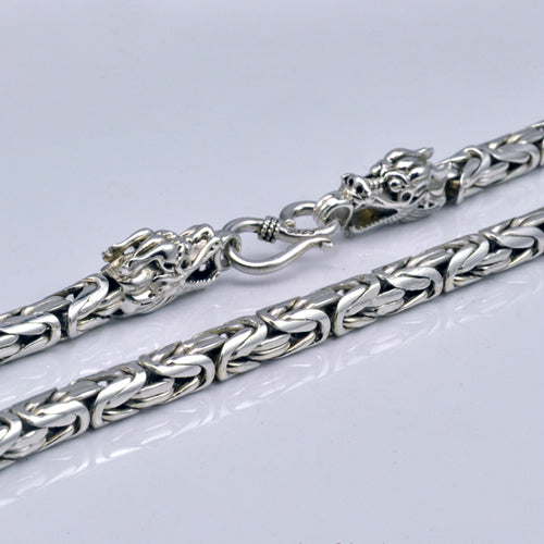 Real 925 Sterling Silver Necklace Double Dragon Head Chain 18