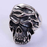 Real Solid 925 Sterling Silver Ring Men's Fire Skull Size 8 9 10 11