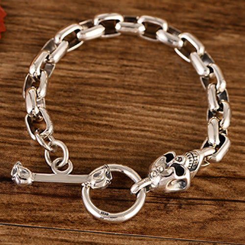 Real 925 Sterling Silver Bracelet Bangle Link Skull Loop Jewelry
