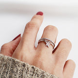 Women's 925 Sterling Silver Ring Micro Inlay Zircon Star Adjustable Open Size 6 to 8