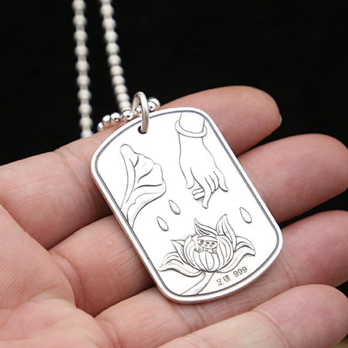 Real 999 Sterling Pure Silver Pendant Lotus flower Sutra Hand Dog Tag