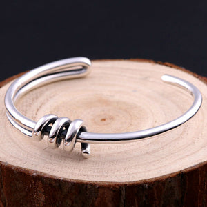 Real 925 Sterling Silver Cuff Bracelet Spiral Braided Simple