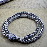 "Genuine 925 Sterling Thai Silver Dragon King Chain Men's Necklace 20""-24"""