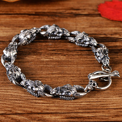 Real 925 Sterling Silver Bracelet Bangle Link Sheep's Head Skull Jewelry