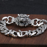 Real 925 Sterling Silver Bracelet Bangle Tiger's Head Loop Rattan Jewelry