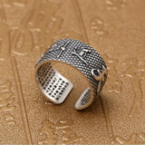 Real 999 Pure Silver Ring Lection Buddhist Scripture Adjustable Size 7 8 9 10