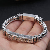 Real 925 Sterling Silver Bracelet Bangle Link Om Mani Padme Hum Cubic Braided