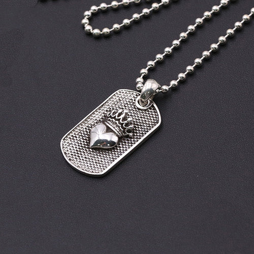 f048a60a91302 Solid 925 Sterling Thai Silver Pendant Crown Heart Dog Tag Men's Women's